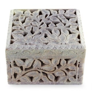 Handmade Soapstone 'White Ivy' Jewelry Box (India)