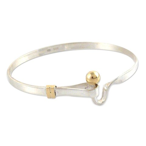 Handmade Golden Torch Artisan Handmade Modern Sterling Silver with 18K Gold Accents Womens Bangle Bracelet (P (Colombia)