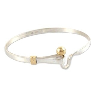 Golden Torch Artisan Handmade Modern Sterling Silver with 18K Gold Accents Womens Bangle Bracelet (P