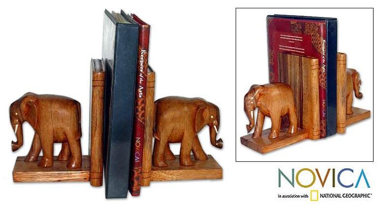 Wood 'African Elephants' Bookends (Ghana)