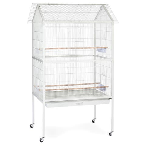 Prevue Pet Products F030 White Wrought Iron Aviary Flight Cage with Stand