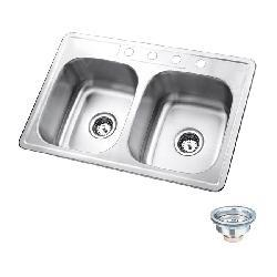 Self-rimming Stainless Steel Double Sink - Thumbnail 1