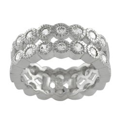 Journee Collection Sterling Silver Stackable Cubic Zirconia Miligrain Bezel Eternity Band