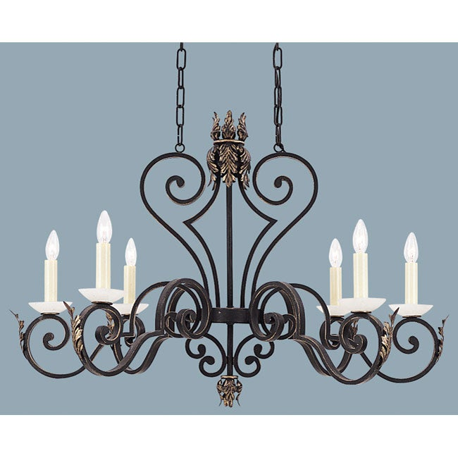 Acanthus 6-light Gold Patina Chandelier