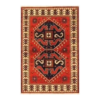 Herat Oriental Indo Hand-knotted Kazak Red/ Ivory Wool Rug (4' x 6')