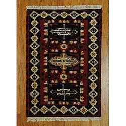 Herat Oriental Indo Hand-knotted Kazak Red/ Ivory Wool Rug (2' x 3')