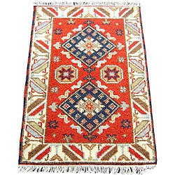 Handmade Herat Oriental Indo Kazak Wool Rug - 2' x 3' (Afghanistan)