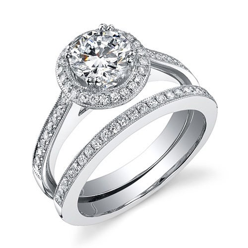 18k Gold 1 1/2ct TDW EGL Certified Diamond Bridal Set (Wh...