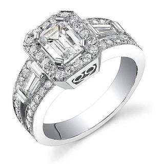 18k White Gold 2 1/8ct TDW Certified Emerald Cut Diamond Ring (I, SI1)