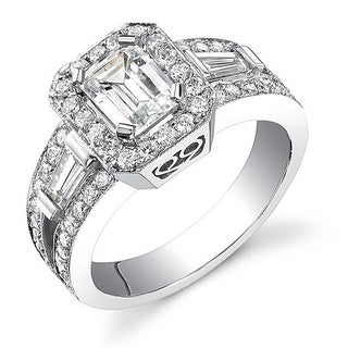 18k White Gold 2 1/8ct TDW Certified Emerald Cut Diamond Ring (I, SI1)