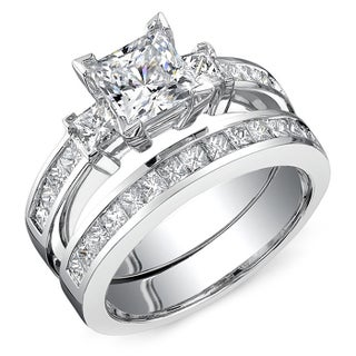 18k White Gold 2 7/8ct TDW Princess Cut 2-Piece Diamond Ring Set (More options available)