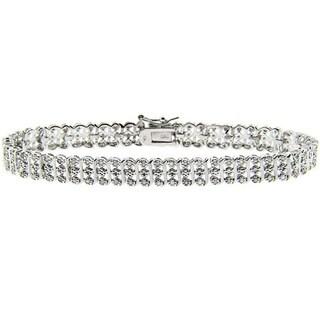 Finesque Sterling Silver 1ct TDW Diamond S-Link Bracelet