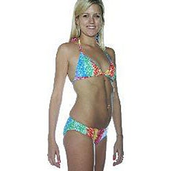 Island World Women's Tie-dye Peace Triangle Pucker Bikini - Thumbnail 2
