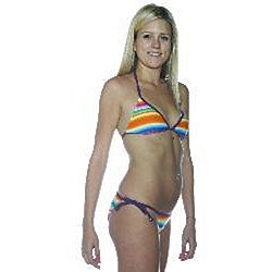 Island World Women's Rainbow Stripe Bikini - Thumbnail 1