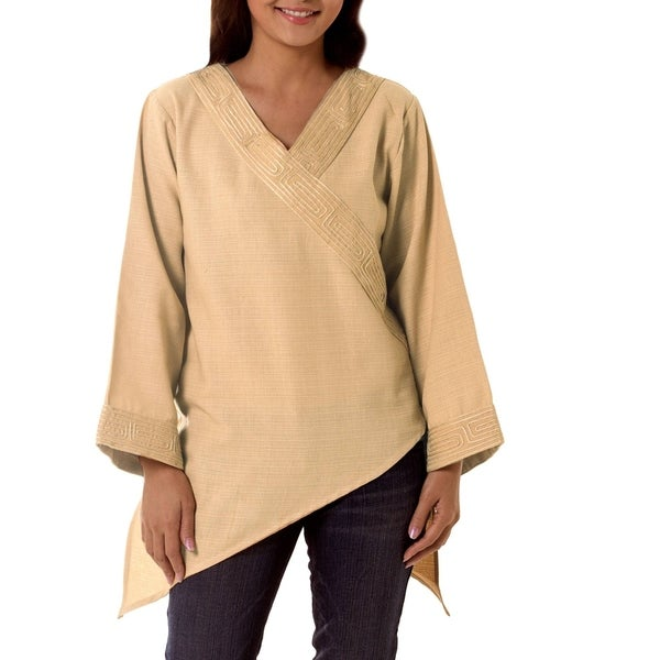Handmade Women's 'China Paths in Light Brown' Blouse (Thailand)