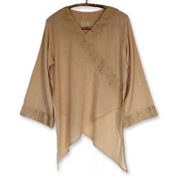 Handmade Women's 'China Paths in Light Brown' Blouse (Thailand) (4 options available)