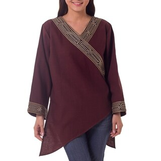 Handmade Women's 'China Paths in Dark Brown' Blouse (Thailand)