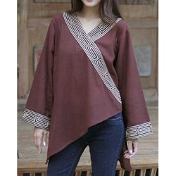 Women's 'China Paths in Dark Brown' Blouse (Thailand)