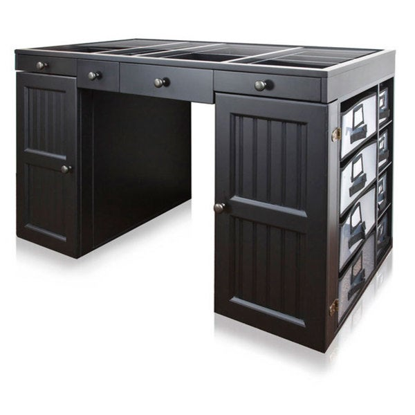 Shop ez view black craft desk free shipping today for Craft desk with storage