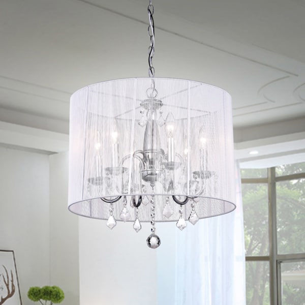Chrome and Cream 6-light Crystal Chandelier - Free Shipping Today ...