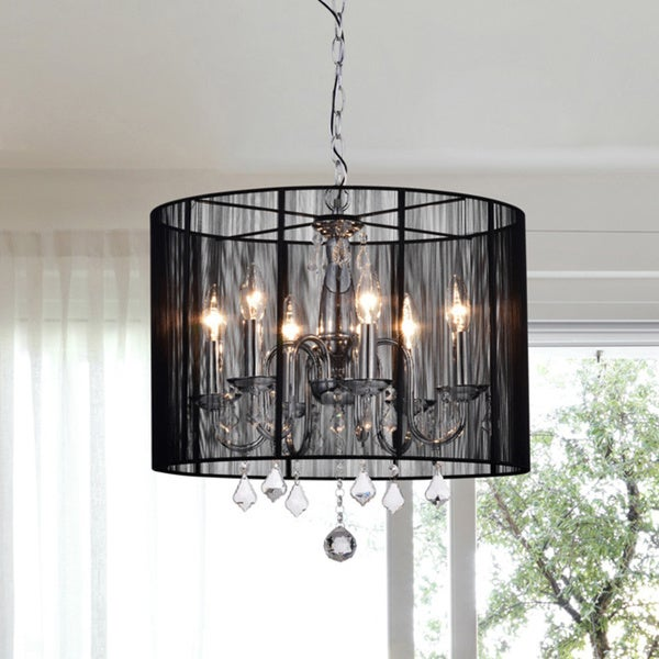 Silver Orchid Taylor Chrome and Black 6-light Crystal Chandelier