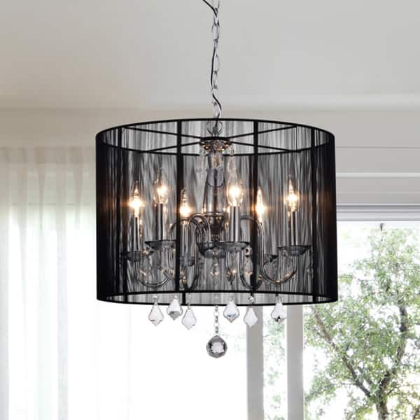 Chrome And Black 6 Light Crystal Chandelier Free