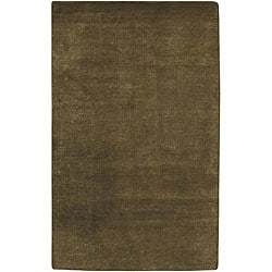 Hand-knotted Green Wool Karur Runner (2'6 x 10)