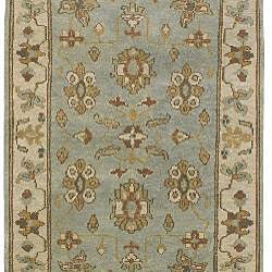 Hand-knotted Light Blue Southwestern Park Ave New Zealand Wool Rug (3'9 x 5'9)