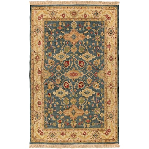 Hand-knotted Green Wool Sangli Area Rug - 4' x 6'