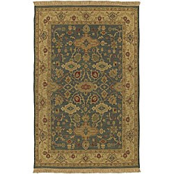 Hand-knotted Green Wool Sangli Rug (4' x 6')