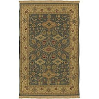 Hand-knotted Green Wool Sangli Area Rug (4' x 6')