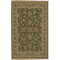 Hand-knotted Soumek Brown Wool Rug (4' x 6')