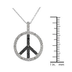 Sterling Silver 1/10ct TDW Black and White Diamond Peace Necklace