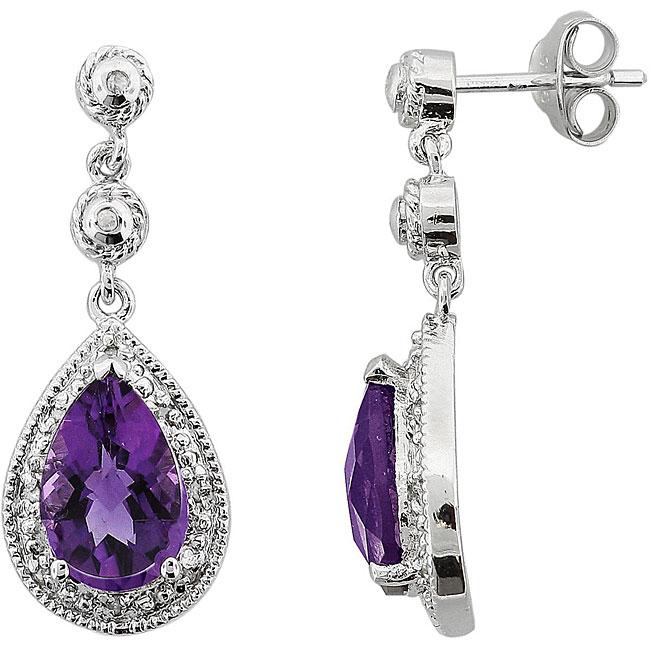 Sterling Silver Amethyst/ 1/10ct TDW Diamond Teardrop Earrings