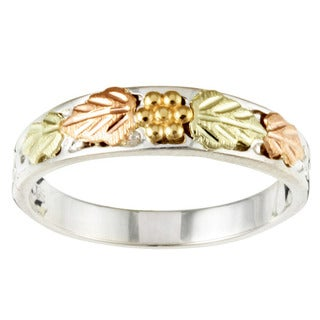 Black HIlls Pink and Green Gold and Sterling Silver Band