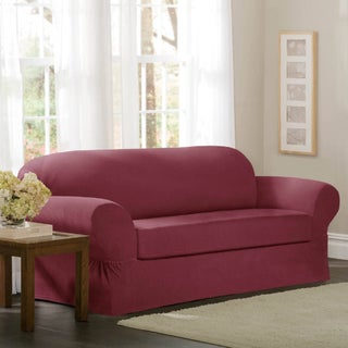 Maytex Collin 2-piece Loveseat Slipcover (Option: Red)