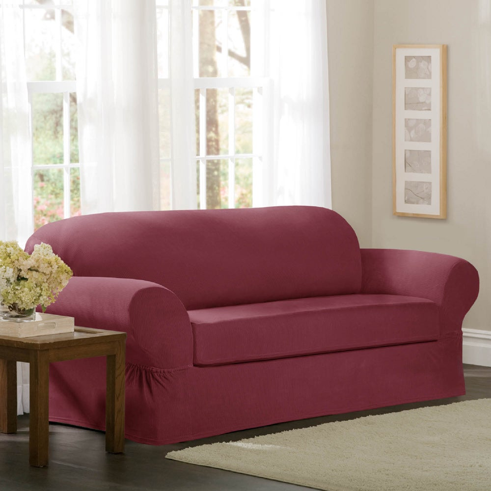 Maytex Collin 2-piece Loveseat Slipcover (Red) (Polyester...