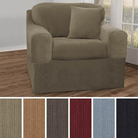 Maytex Collin Stretch Pinstripe 2 Piece Chair Furniture Slipcover