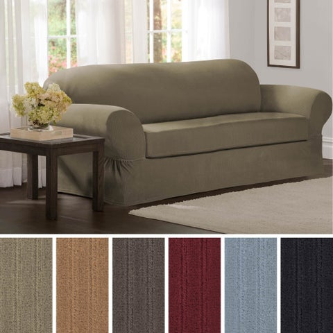 "Maytex Collin 2-Piece Sofa Slipcover - 74-96"" wide/34"" high/38"" deep"