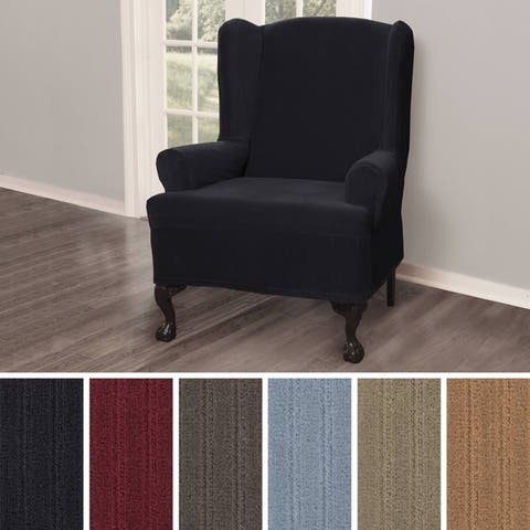 Maytex Collin Stretch Pinstripe 1 Piece Wing Chair Furniture Slipcover