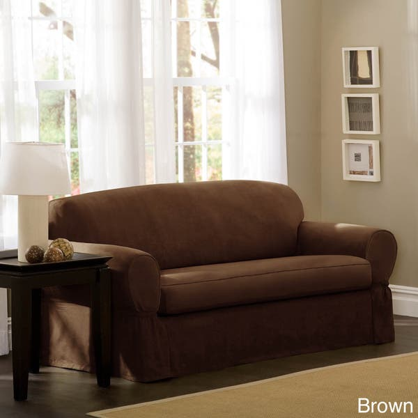 Tremendous Shop Maytex Piped Suede 2 Piece Sofa Slipcover 74 96 Wide Squirreltailoven Fun Painted Chair Ideas Images Squirreltailovenorg