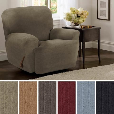 "Maytex Collin Stretch Pinstripe 4 Piece Recliner Furniture Slipcover - 30-40"" wide/37"" high/38"" deep"