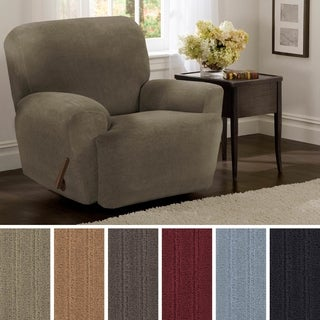 "Maytex Collin Stretch Pinstripe 4 Piece Recliner Furniture Slipcover - 30-40"" wide/37"" high/38"" deep"