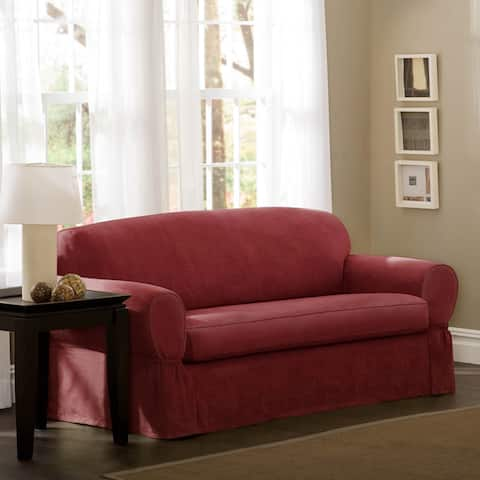 "Maytex Piped Suede 2-piece Loveseat Slipcover - 34"" high/58-73"" wide/38"" deep"