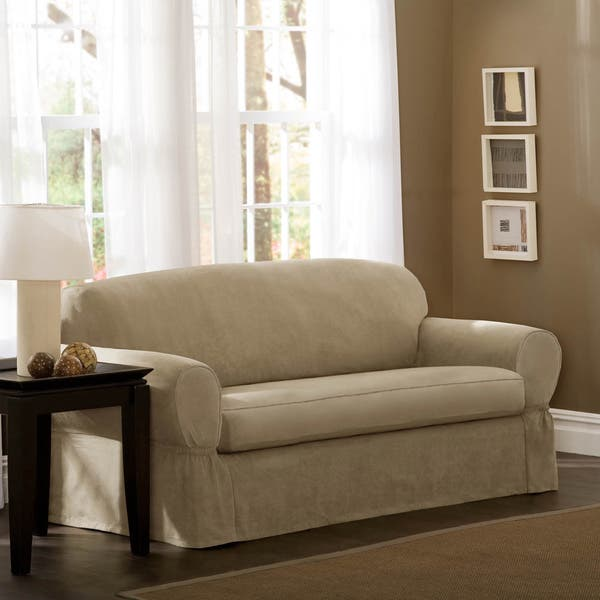 Super Shop Maytex Piped Suede 2 Piece Loveseat Slipcover 34 Dailytribune Chair Design For Home Dailytribuneorg