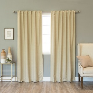 Aurora Home Faux Leather Insulated Thermal 84-inch Curtain Panel Pair