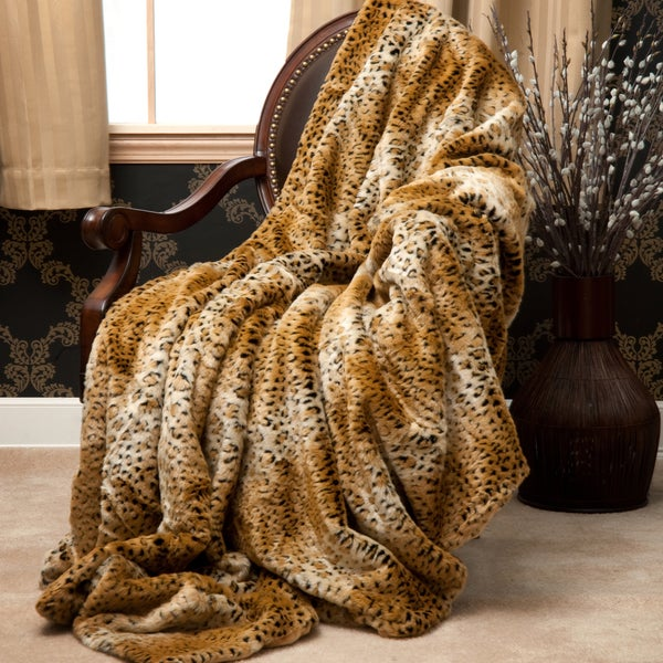shop oversize cheetah faux fur throw blanket 60 in x 84 in