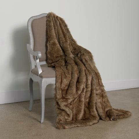 Aurora Home Coyote Faux-Fur 58x60-inch Throw Blanket