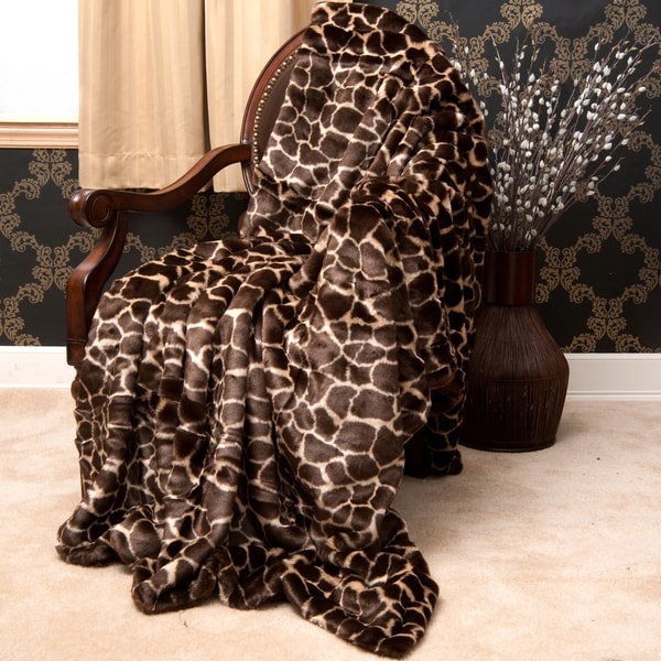 Faux Fur Giraffe Throw Blanket