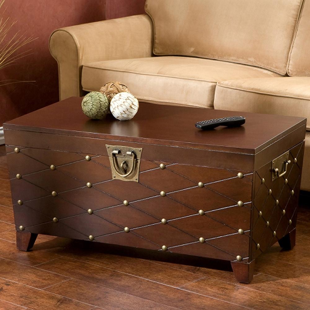 Clay Alder Home Hi-Line Nailhead Espresso Cocktail Table Trunk